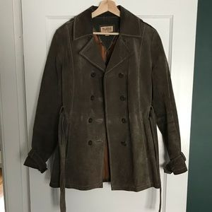 Wilsons Leather olive suede trench